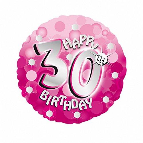 amscan Folien-Luftballon mit Aufschrift Happy 30th Birthday, rosa, rund, 46 cm (Einheitsgröße) (Pink) - Link-ballons Pink