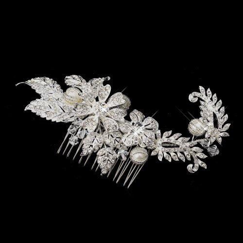 Fiona Silver Rhinestone, Crystal & Ivory Pearl Comb by Fairytale Bridal Tiara (Fiona Tiara)