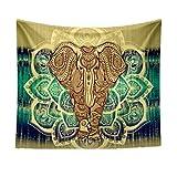 Bohemien Weichen Tapisserie Wurfdecke Teppich Roundie Yoga Matte Strandtuch - Gelb Elefant