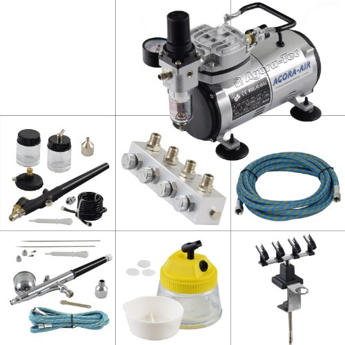 Preisvergleich Produktbild Agora-Tec® Airbrush Komplett-Set EXPERT XVII.1, inkl. Kompressor mit 4 bar & 20l/min + 2 Airbrushpistolen mit 0,2 & 0,3 & 0,5 & 0,8mm Nadeln/Düsen + regelbaren 4-fach Luftdruckverteiler + 4-fach Halter + Clean-Pot + 2 Schläuche + Adapter
