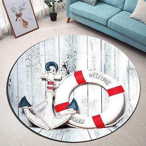 LB NautischRunder Teppich Anker, der auf hölzerner Wand Sich lehnt Weich Waschbar Innen Teppich Fußmatte/Türmatte/Spielmatte für Wohnzimmer Schlafzimmer Kinderzimmer,Durchmesser von 80cm