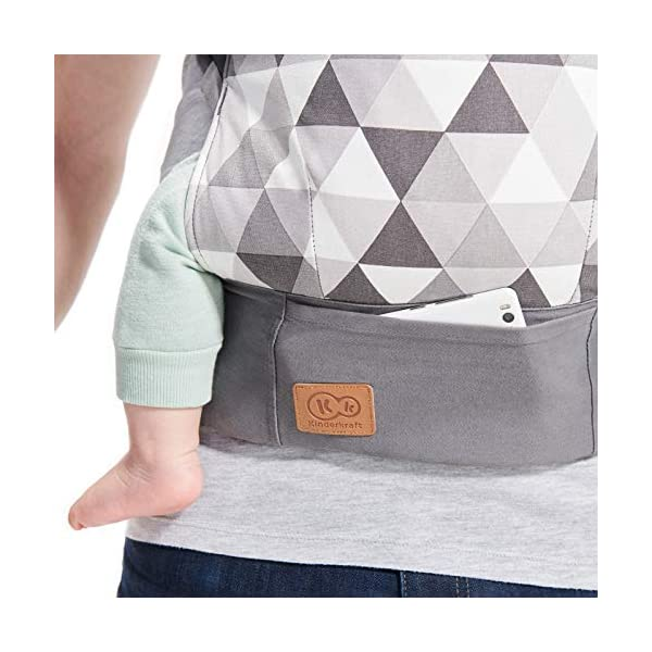 kk Kinderkraft Nino Ergonomic Baby Carrier Front Gray kk KinderKraft Thanks to a special, well-profiled layer, the baby's head does not tilt Ergonomic baby carrier for children aged from 3 months up to 20 kg The compact baby carrier can be folded to a small size and weighs only 0.39 kg 7