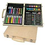 malkoffer 'Paint Box 66' con 11utensili-66Set di disegni da colorare per Scuola e Co.: Il Compatto malkasten in una pratica valigetta in legno.