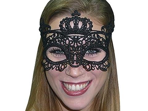 HO-Ersoka Damen Augenmaske Spitze Stickerei Krone Crown Maskenball Venezia schwarz