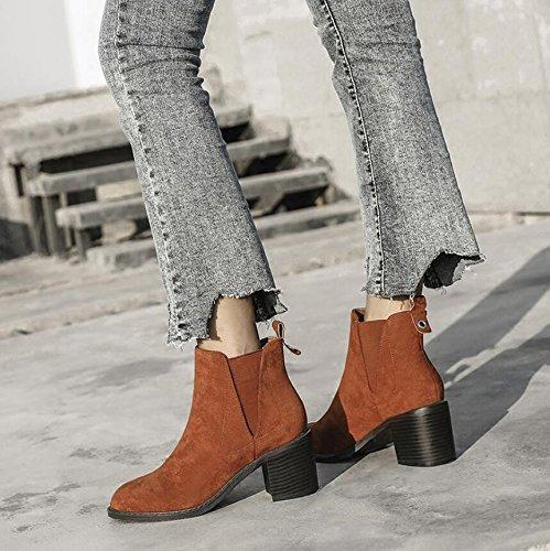 Khskx-brown 6 5cm Tête Ronde Chaussures Seule Épaisse Couleur Grise Avec Bande Élastique Et Nu Bottes À Talons Nus Et Bottes Femme 36 39