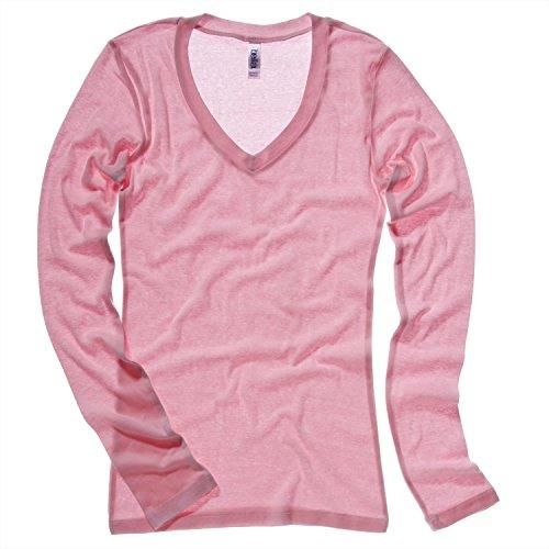 Bella Leinwand Sheer Rippe langärmeliges Shirt mit V-Ausschnitt T-Shirt Grau - Granitgrau