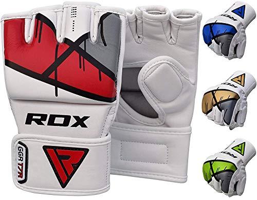 RDX MMA Handschuhe Profi Kampfsport Boxsack Sparring Training Grappling Gloves Freefight Sandsack Maya Hide Leder Punchinghandschuhe (MEHRWEG)
