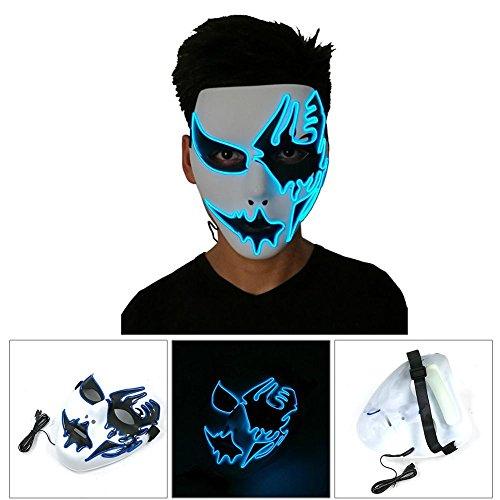 (Halloween-Kostüm-Maske Leuchtender Schädel-volle Gesichtsmaske-Horror-Skeleton Cosplay Maskerade-furchtsamer EL-Draht LED-Licht-blinkende Maske Glühen in der Dunkelheit für Karnevals-Festival-Partei)