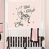 Vinyl Wandtattoo Zitat Sweet Dreams Winnie Puuh the Pooh Tiger Gute Nacht mit Namen für Mädchen Junge Kinder Wandaufkleber Wandsticker Wanddekoration für Schlafzimmer Kinderzimmer Babyzimmer A562