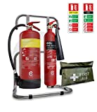 Confezione piccola antincendio da ufficio. Set estintore con doppio supporto e segnaletica. Copre tutti i tipi di rischio di incendio. Ideale per piccoli luoghi di lavoro. BS Kitemarked.