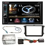 Kenwood DNX-4180BTS Navigation Naviceiver Bluetooth CarPlay USB CD DVD Autoradio FLAC Doppel Din Einbauset für Beetle Jetta Sharan Tiguan T5