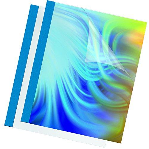 Fellowes Thermobindemappen Prestige, 150 Mikron Vorderseite (PVC) / 220g/m² Rücken (Lederstruktur), blau