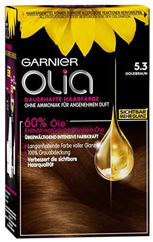Garnier Olia Haar Coloration Goldbraun 5.3 / Färbung für Haare enthält 60% Blumen-Öle für intensive Farbkraft - Ohne Ammoniak - 3 x 1 Stück