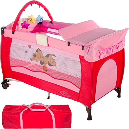 TecTake New portable child baby travel cot bed playpen with entryway -different colours- (Pink)  TecTake
