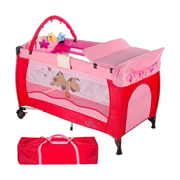 TecTake New portable child baby travel cot bed playpen with entryway -different colours- (Pink) TecTake Suitable for children up to an age of 36 months. Bed Size: 128cm length, 67cm width, 81cm height Changing mat: 68cm length, 51cm width 1