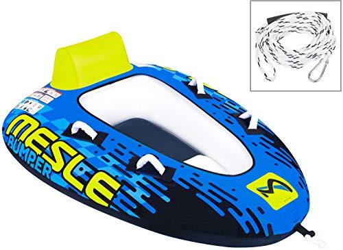 MESLE Tube Package Bumper mit 2P Schleppleine, Towable für 1 bis 2 Personen, Inflatable Fun-Tube Multi-Rider Cockpit-Tube, blau Lime weiß, Farbe:Leine PPK White
