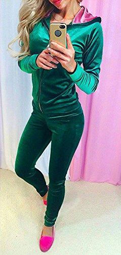 Tuta Donna Elegante Autunno Manica Lunga Morbida Cerniera Playsuits Moda Giovane Casual Femminile Classica Giacche Primavera Jumpsuit verdi