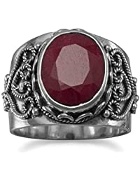 Sterling Silver Oxidized Ornate Ring Oval Faceted Rough-cut Ruby Ruby Measures 11.5mmx9mm - Ring Size Options Range: L to R