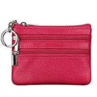 Women's Genuine Leather Coin Purse Mini Pouch Change Wallet with Key Ring,rose