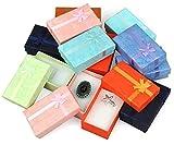 12 x Schmuck Etui für Kette, Ohrring, Ring Schmuckkästchen Geschenkbox -Farbmix