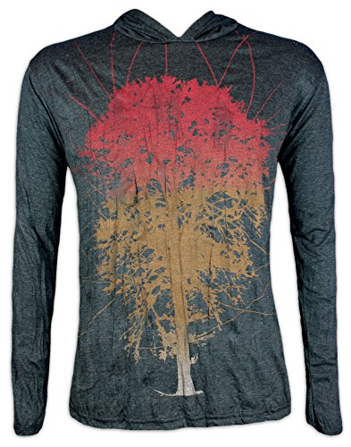Pure Clothing Herren Kapuzen Longsleeve T-Shirt Leicht - Lebensbaum Größe M L XL Psychedelic Art Goa Party Baum des Lebens (Schwarz XL) (Arten Von Goa)