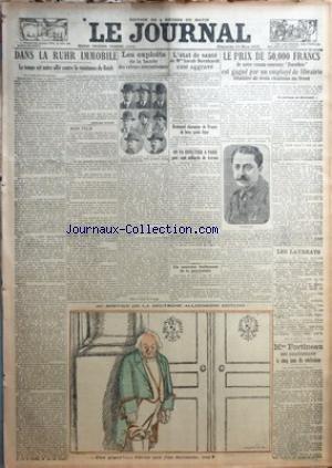 JOURNAL (LE) [No 11116] du 25/03/1923 - DANS LA RUHR IMMOBILE - LES EXPLOITS DE LA BANDE DES VOLEURS INTERNATIONAUX - L'ETAT DE SANTE DE MME SARAH BERNHARDT - ROMAN-CONCOURS - M. BOULEAU - MME FORTINEAU EST CONDAMNES A 5 ANS DE RECLUSION - DESSIN DE FAIVRE - BRETONNEL CHAMPION DE FRANCE DE BOXE POIDS LEGER par Collectif