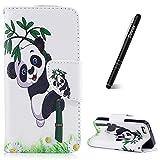 Slynmax Coque iPhone 5/5S/SE Étui en PU Cuir Panda et Bambou Motif Peint Mode Housse Portefeuille Case de Protection Magnétique avec Emplacement de Cartes Fonction de Support pour iPhone 5/5S/SE