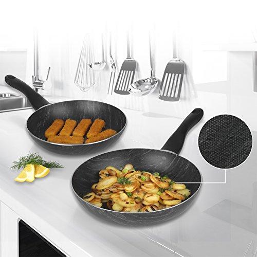 BRATmaxx casseroles Aspect marbre 2 pcs. 24 / 28cm | Convient à Toutes Les Sources de Chaleur, également à Induction - Lave-Vaisselle