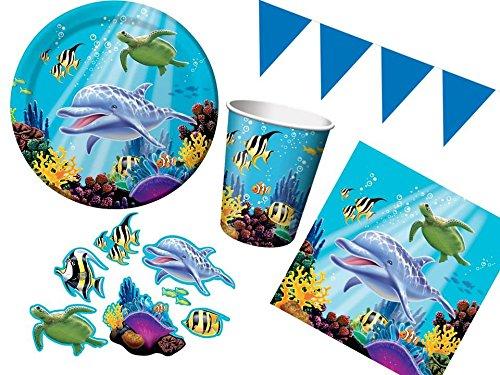 40-tlg. Partyset Ocean Unterwasserwelt - für 8 Kinder - Partygeschirr, Teller, Becher, Servietten