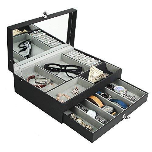 jackcubedesign Multifuncional Caja de joyero de Piel Negro Catch All  Bandeja de Valet Organizador Almacenamiento Caso W/Espejo, La Tapa, cajón  ...