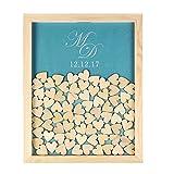 Lila mit Datum Monogram Guestbook Hochzeits-Bilderrahmen aus Holz, mit Namen der alternatives Hochzeits-Gästebuch mit Guestbook 150, 40x 50cm, mit Herz, holz, Color 4, 40 x 50cm