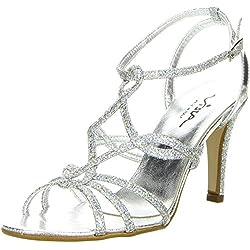 Vista Damen Sandaletten Glitzeroptik silber, Größe:38;Farbe:Silber