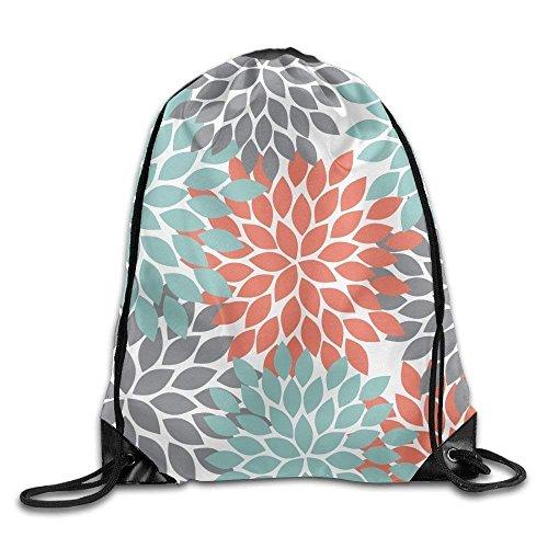 Trsdshorts Unisex Orange Grey Green Dahlia Floral Pattern Print Drawstring Backpack Rucksack Shoulder Bags Gym Bag Sport Bag