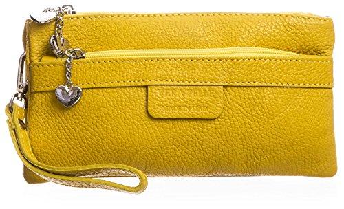 BHBS Damen Clutch Tasche aus echtem itelienischem Leder mit mehreren Tascheh Herz Charm 22 x 11 x 5 cm (B x H x T) Gelb