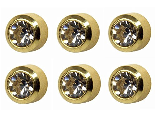 6 Pairs of Studex Ear Piercing April Birthstone Gold Plated Stud Earrings 4mm Bezel Setting