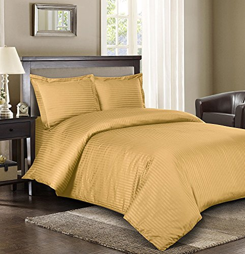 Royal Hotel 's gestreift gold 600-thread-count 3 california-king, Knopfverschluß, Bettbezug 100 Prozent Ägyptische Baumwolle Satin gestreift (Bettbezug King 600)
