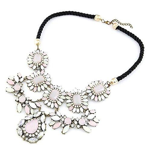 &Pink Tropfenform Silber Diamant Gold Panel Seil Halskette, Schwarz Gold Panel