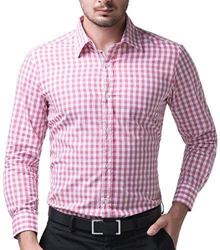 Paul Jones Klassiche Karohemd Herren Stilvollen Hemden Slim Fit langarmhemden Rosa M CL6299-4 (Herren-rosa Karierte Hemd)