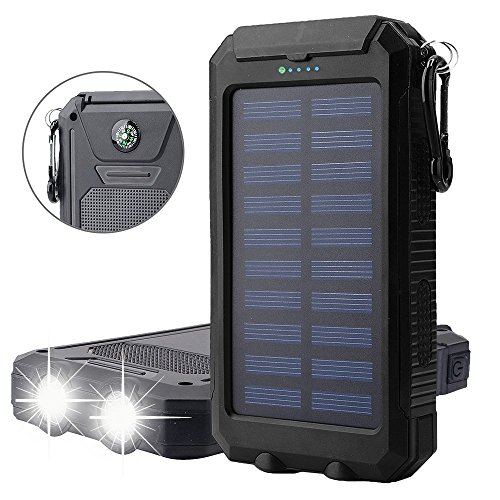 Bovon Solar Ladegerät 10000mAh Externe Akku Duale USB Ports Tragbare Power Bank mit Kompass LED Taschenlampe Externes Akkuladegerät für iPhone, iPad, Android-Handy, Tablet, Kamera usw (Schwarz)