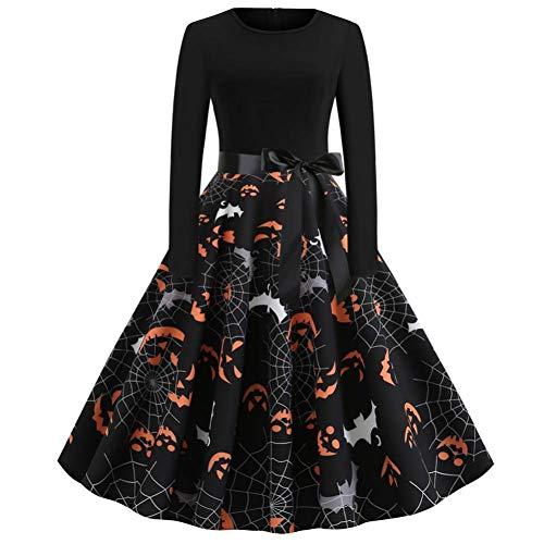 Dress Up Kostüm 1950's - Halloween Kleid Langarm Retro 1950 A Line Swing Kleid Damen Halloween Vintage Schädel Print Party Cocktail Schwarz Swing Kleider