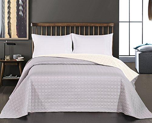 DecoKing 11836 Tagesdecke 240 x 260 cm ecru silber Bettüberwurf Kreisen zweiseitig pflegeleicht Salice - Kreise Silber