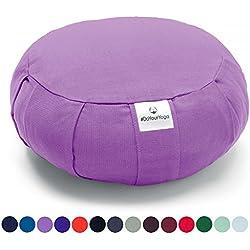 Cojín Zafu »Moogli« / Cojín clásico para yoga y meditación, cojín de yoga / 100% algodón / 35 cm x 15 cm / disponible en una gran variedad de magníficos colores / Lila