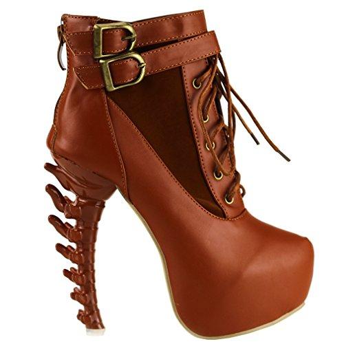 Show Story Lace Up schnalle hoch oben knochen hohe Heel Platform kn?chel stiefel,LF40601 Braun