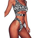 QingJiu Damen Schnalle Leopard Bikini Push-Up Gepolsterte Badebekleidung Badeanzug Beachwear (Small, Schwarz)