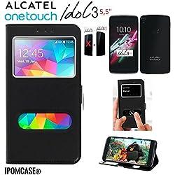 """iPOMCASE Coque Pochette FAÇADE Etui Housse Folio 2 FENÊTRES DÉCROCHAGE Rapide ALCATEL One Touch Idol 3 (5,5) - Contour INTÉRIEUR Silicone INCASSABLE - (Non Compatible Idol 3 (4.7""""))"""
