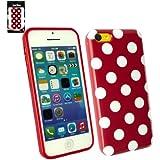 Emartbuy ® Apple Iphone 5c Tupfen Gel Skin Cover / Schutzhülle Rot / Weiß
