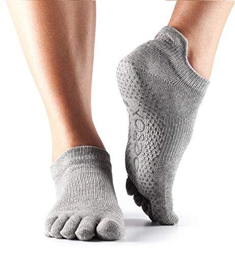 ToeSox Frauen 1 Paar Ausführliche Toe Organic Cotton Low Rise Yoga Socks In Fuchsia, Grau, Small