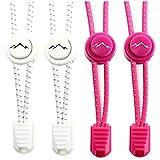 gipfelsport Elastische Schnürsenkel - Gummi Schnellschnürsystem ohne Binden | für Kinder, Herren, Damen I 2X Paar: weiß/pink