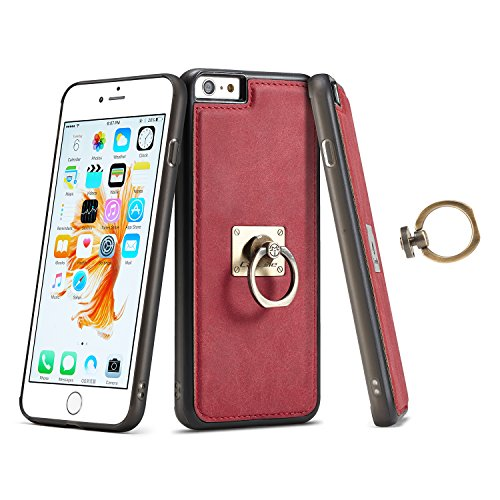 Custodia iPhone 6 Plus, iPhone 6S Plus Cover Silicone, SainCat Custodia in Silicone Morbido Cover per iPhone 6/6S Plus, Separable Magnet Adsorption Shock-Absorption 3D Silicone Case Ultra Slim Sottile Rosso