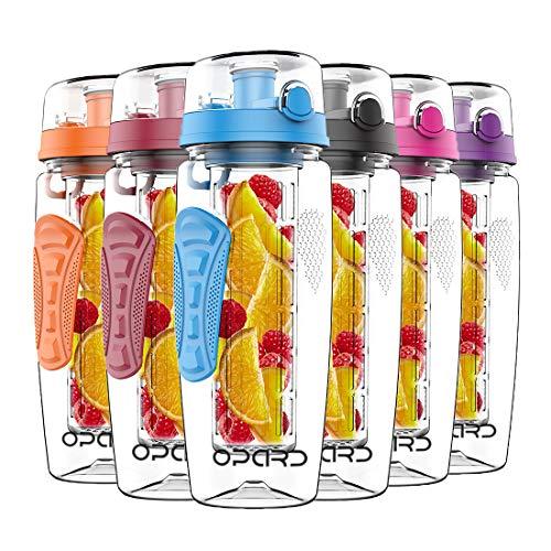 Opard Trinkflasche 1 Liter Fruit Infuser Sports Trinkflasche Water Bottle Tritan BPA-frei Kunststoff Flasche mit Rezept und Pinsel (Blau)